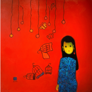 Girl with birdcages