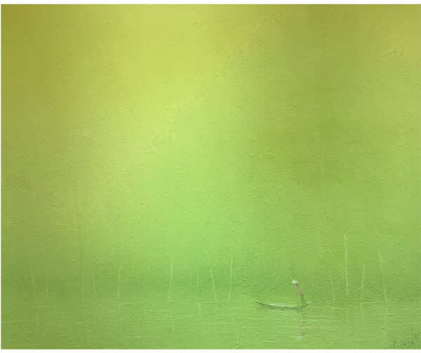 FISHERMAN AT SUNRISE ON THE GREEN BAMBOO RIVER